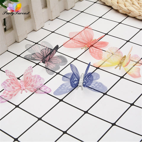 10pc Double-Layer Tulle Colorful Butterflies