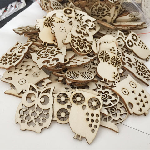 Wooden Cutout Owl Shapes 10pcs