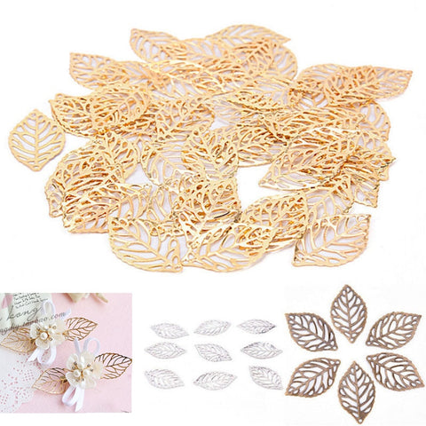 Vintage plated gold hollow leaves 50pcs