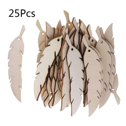 Wooden feather cutouts 25Pcs