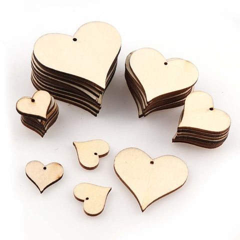 Mixed size perforated wooden hearts