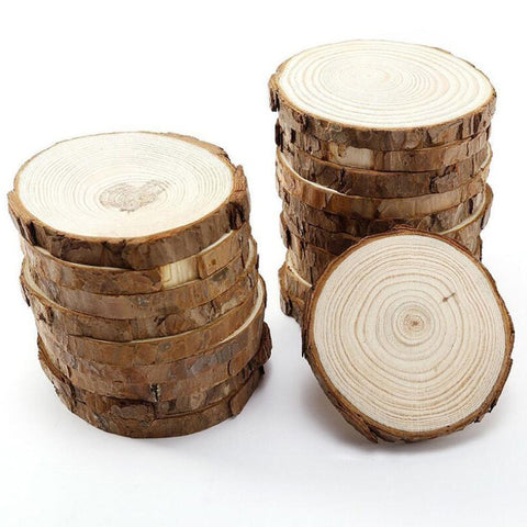 Bark edged round wood slices 5Pcs