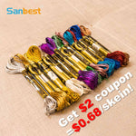 Metallic effect embroidery thread