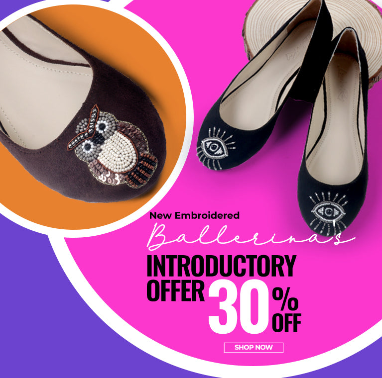 New embroidered ballerinas introductory offer 30% off
