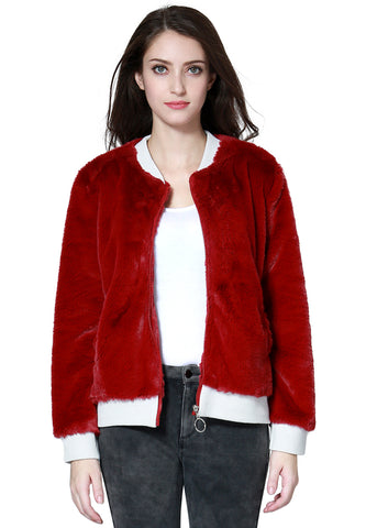 Burgundy Soft Furr Jacket - London Rag India