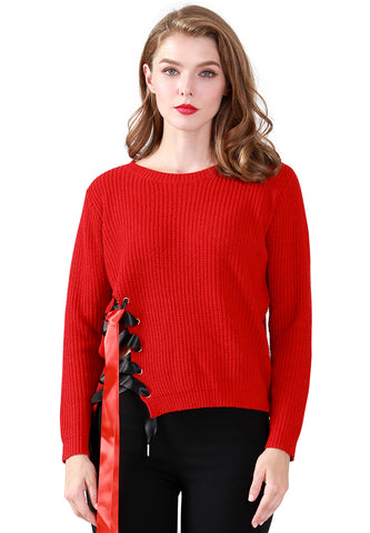 Red Long Sleeve Sweater Draw String Detail - London Rag India