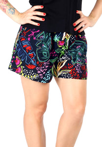 Women's Black Floral Print Shorts - London Rag India