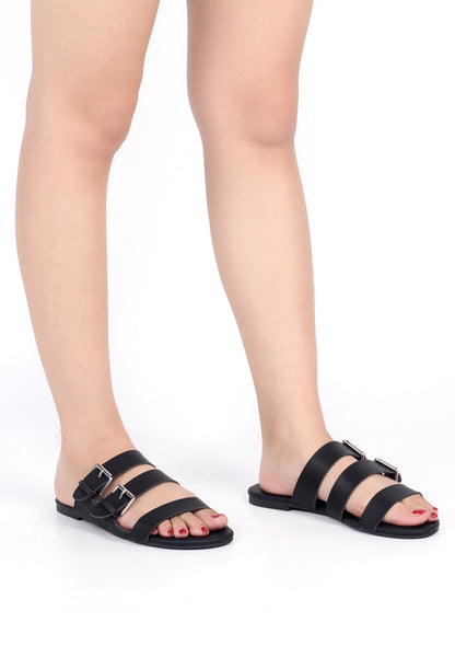 Womens Black Strappy Flat Sandals - London Rag India