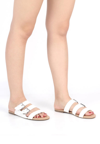 Womens White Strappy Flat Sandals - London Rag India