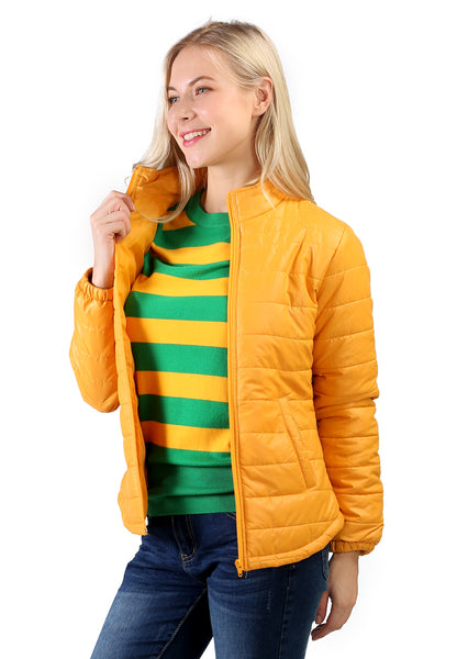 Yellow Puffer Jacket With Zipper Closure - London Rag India