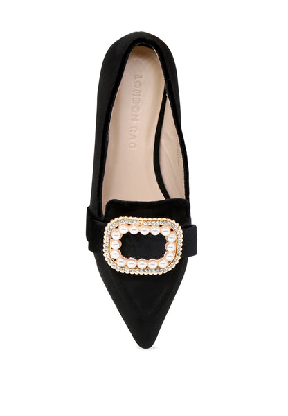 Black Pointed Flat Ballerinas - London Rag India