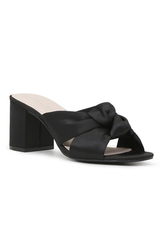 Womens Black Block Heel Sandal