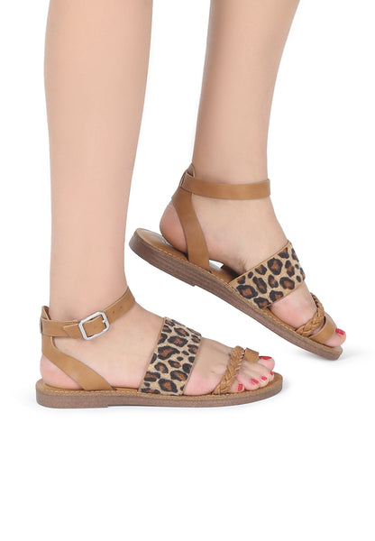 Womens Leopard Florence Ankle Strap Flat Sandals - London Rag India