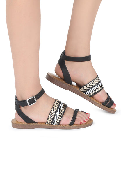 Womens Black Florence Ankle Strap Flat Sandals - London Rag India