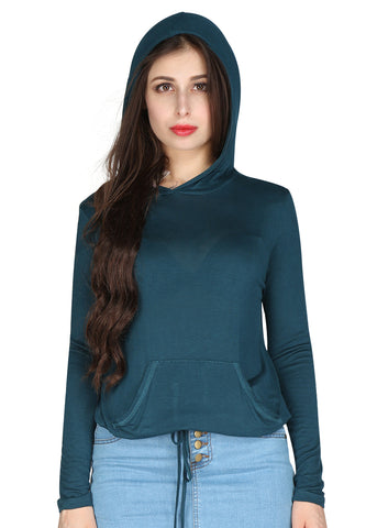 Turquoise Full Sleeves Hoodie - London Rag India