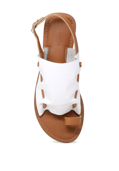 Women's White Suede Leather Back Strap Fran Flat Sandal