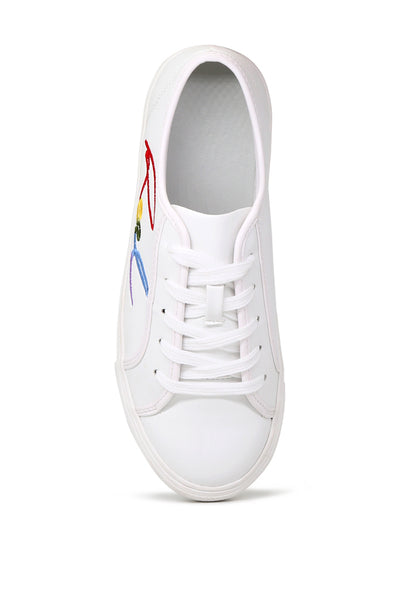 White Real Print Lace-Up Sneakers - London Rag India