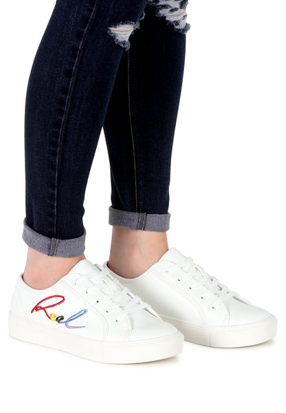 Womens White Real Print Lace-Up Sneakers - London Rag India