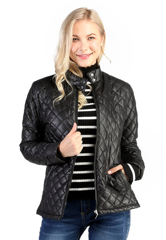 Black Puffer Jacket with Zip Closure - London Rag India