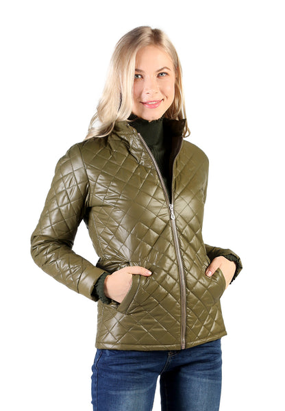 Green Puffer jacket With Zip Closure - London Rag India