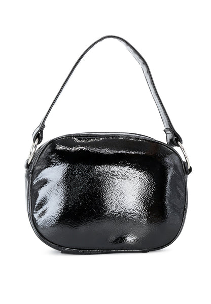 Cross Body Shiny Black Sling Bag - London Rag India