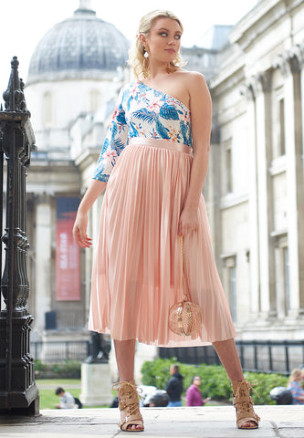 Pink Pleated Midi Skirt - London Rag India