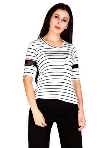 White Stripped Round Neck Top - London Rag India