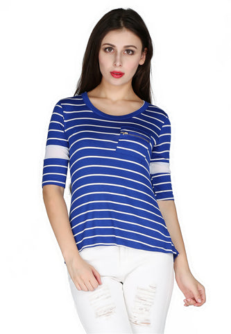 Womens Blue Stripped Round Neck Top - London Rag India