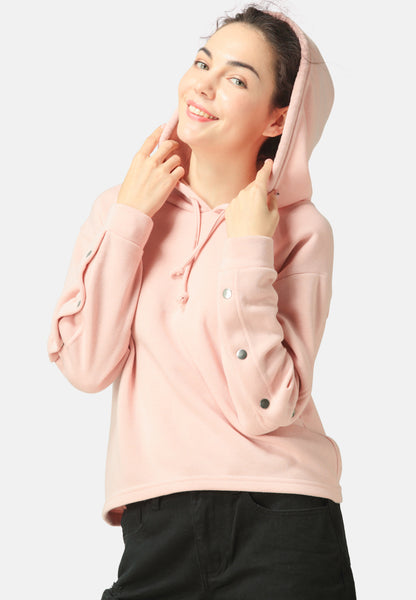 Peach Button Detailed Sleeve Hoodie - London Rag India