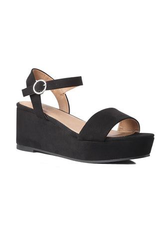 Suede Black Wedge Sandal - London Rag India