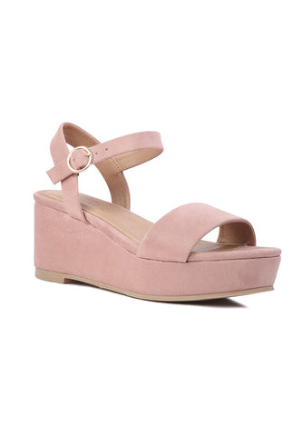 Suede Pink Wedge Sandal - London Rag India