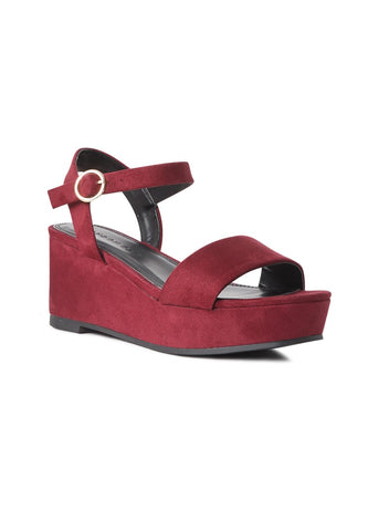 Suede Purple Wedge Sandal - London Rag India