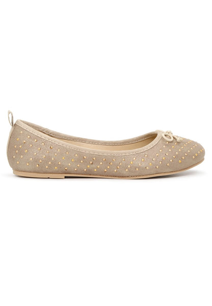 Womens Golden Velvet Ballerinas - London Rag India