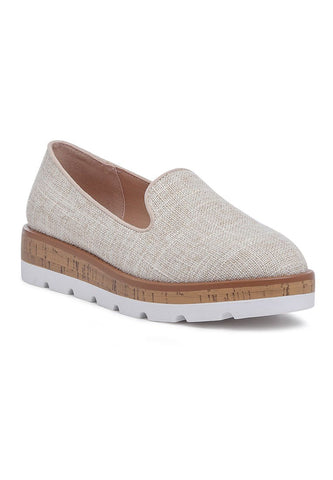 Beige Canvas Slip-On Loafer