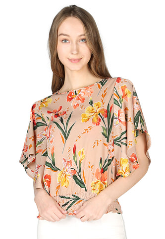 Womens Beige Floral Print Top - London Rag India
