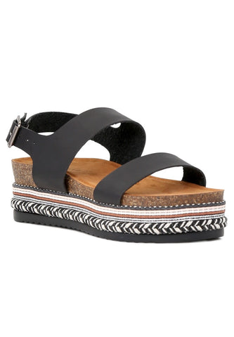 Womens Black Flatform Sandal - London Rag India
