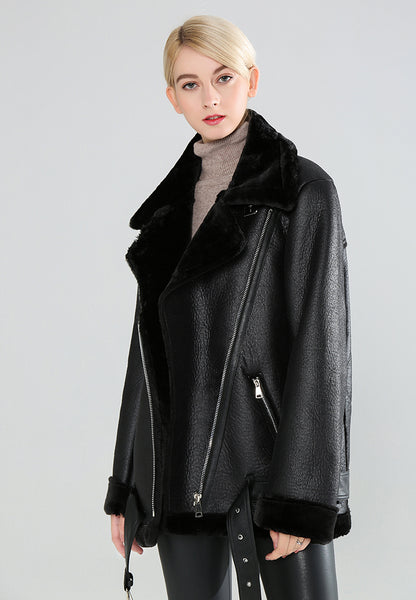 Black Leather Biker Jacket with Faux Fur Collar