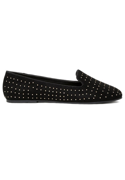 Womens Black Studded Loafers - London Rag India