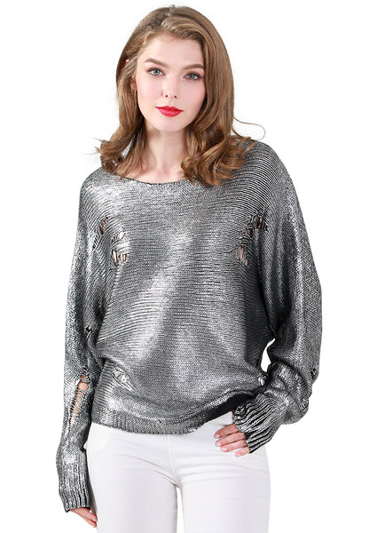Ripped Full Sleeve Metallic Sweater in Silver - London Rag India