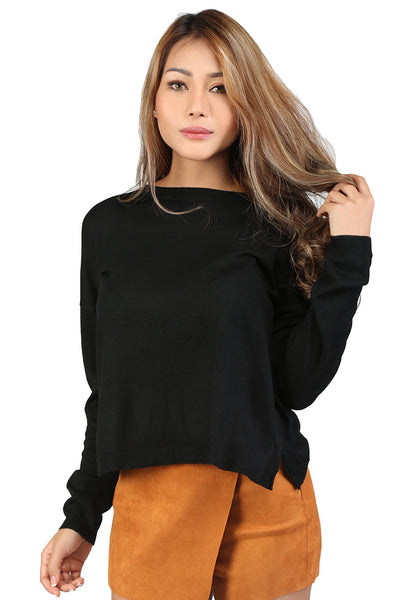 Black Crew Neck Knit Sweater - London Rag India