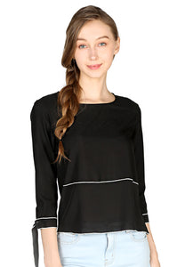 Black Elbow Sleeve Casual Top - London Rag India