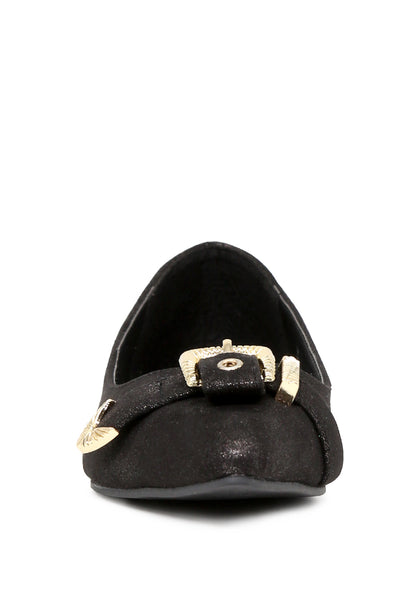 Womens Black Buckle Ballerinas - London Rag India