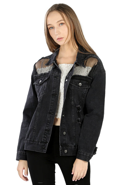 Black Denim Jacket with Mesh Detail - London Rag India