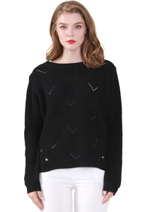 Black Long Sleeve Knit Sweater with Eyelet Detail - London Rag India