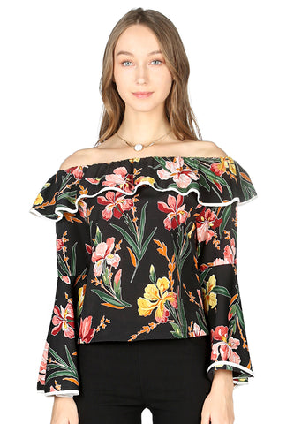 Womens Black Floral Print Off Shoulder Top - London Rag India
