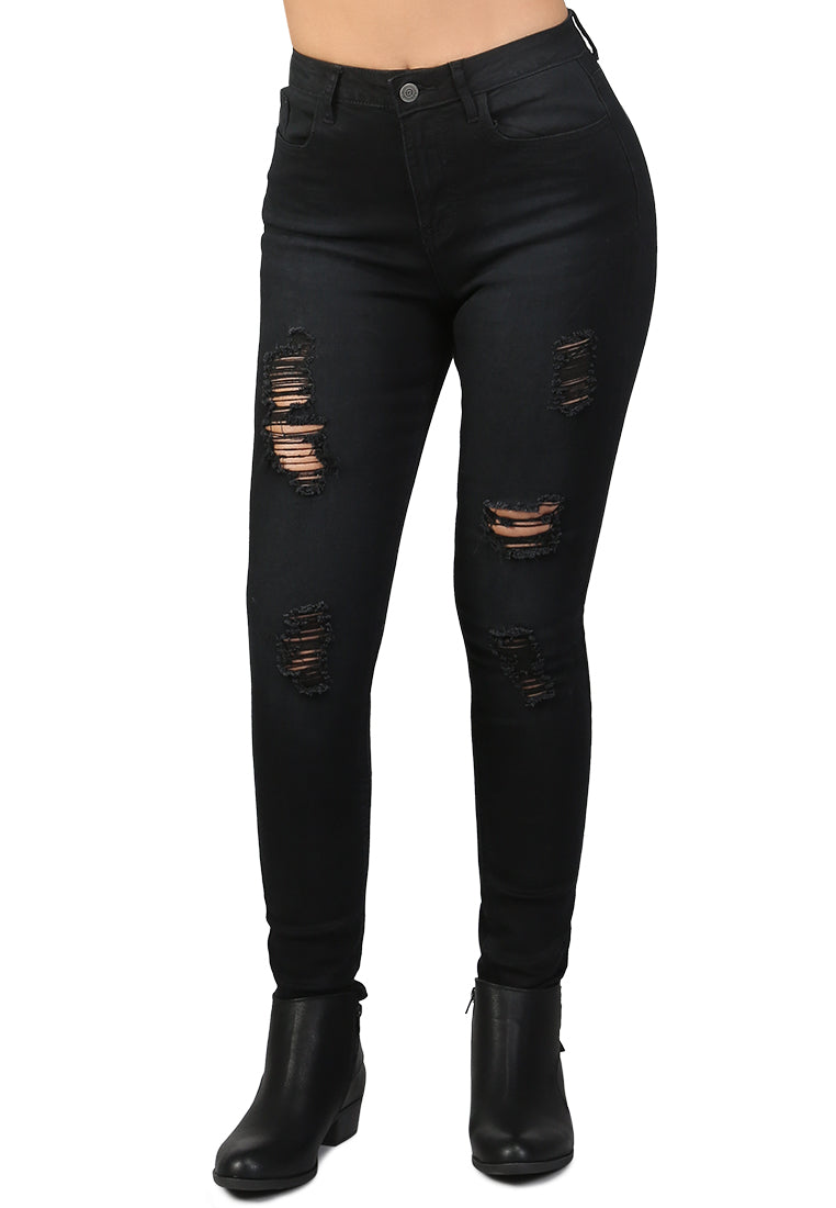 Black Skinny Ripped Jeans - London Rag India