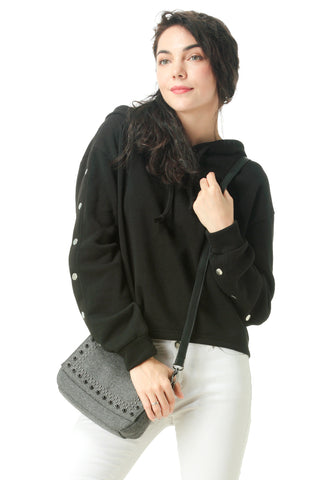 Black Button Detailed Sleeve Hoodie - London Rag India