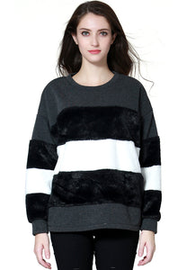 Black Faux Fur Sweatshirt - London Rag India