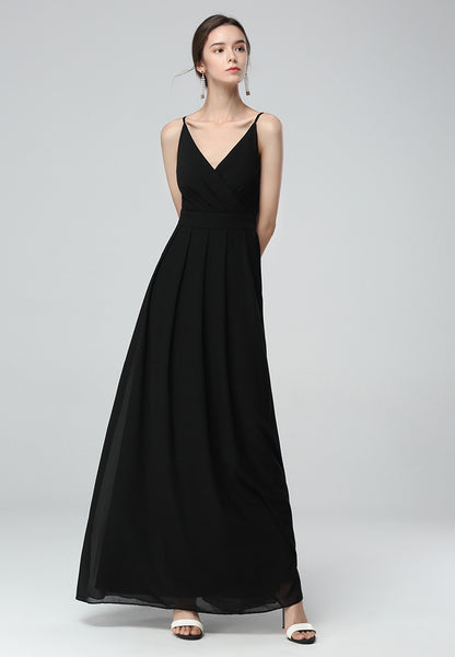 Black Spaghetti Chiffon Gown Dress - London Rag India