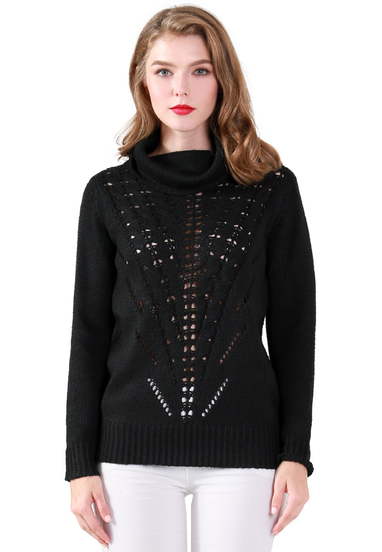 Black Turtle Neck Long Sleeve Knit Sweater with Eyelet Details - London Rag India